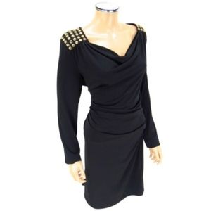 MICHAEL KORS Cocktail Dress Black Gold Studded XL
